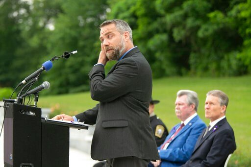 (Mike Morones/The Free Lance-Star via AP). Jason Towery, Stafford County, Va., Director of Public Works, speaks during a memorial service for Christopher K. Rapp and the victims of the Virginia Beach shootings Wednesday June 5, 2019, in Stafford, Va. R...