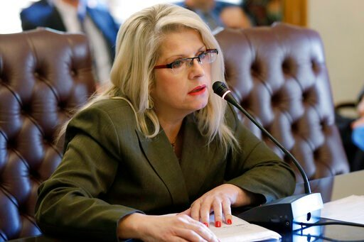 (AP Photo/Danny Johnston, File). FILE - In this Jan. 28, 2015 file photo, Sen. Linda Collins-Smith, R-Pocahontas, speaks at the Arkansas state Capitol in Little Rock, Ark. Authorities in Arkansas say they're investigating as a homicide remains found ou...