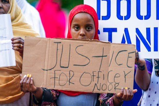 (Leila Navidi/Star Tribune via AP). Amal Abdullahi, 11, attends s rally supporting former Minneapolis police officer Mohamed Noor in Minneapolis on Thursday, June 6, 2019. Noor, convicted of murder in the shooting of an unarmed woman who had called 911...