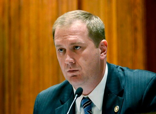 (Kile Brewer/The Jefferson City News-Tribune via AP, File). FILE - In this Dec. 3, 2013, file photo, Missouri Sen. Eric Schmitt, leads a meeting at the Capitol in Jefferson City, Mo. A new report shows that black drivers in Missouri are 91% more likely...