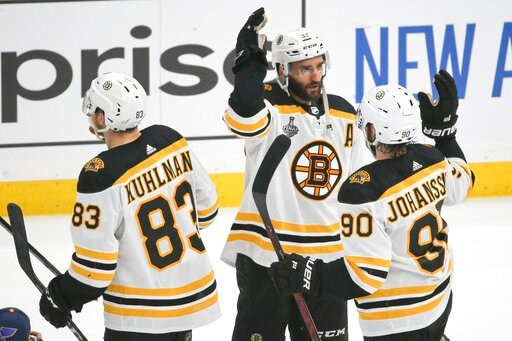 (AP Photo/Scott Kane). Boston Bruins center Patrice Bergeron (37) celebrates with Marcus Johansson (90), of Sweden, and Karson Kuhlman (83) after the Bruins beat the St. Louis Blues in Game 6 of the NHL hockey Stanley Cup Final Sunday, June 9, 2019, in...