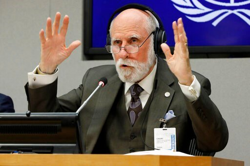 (AP Photo/Richard Drew). Vinton Cerf, vice president and Chief Internet Evangelist for Google, answers a question during a news conference at United Nations headquarters, Monday, June 10, 2019.