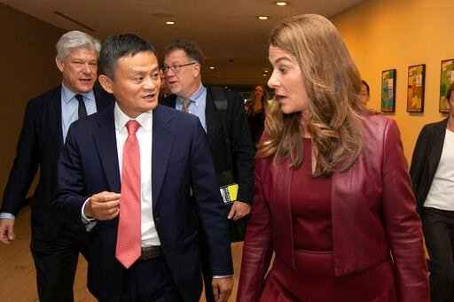 (AP Photo/Richard Drew). Jack Ma, and Melinda Gates, leave a television studio at United Nations headquarters, Monday, June 10, 2019, after a live conversation with U.N. Secretary General Antonio Guterres on digital cooperation.