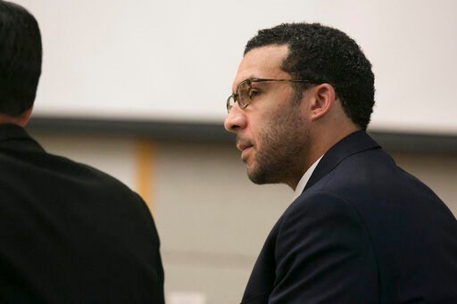 (John Gibbins/The San Diego Union-Tribune via AP, Pool). File - In this May 20, 2019, file photo, former NFL football player Kellen Winslow Jr. looks at attorney Marc Carlos during his rape trial in Vista, Calif. The former NFL star was convicted Monda...