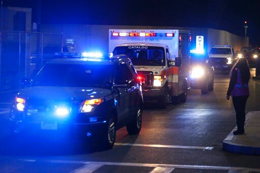 (Nathan Klima/The Boston Globe via AP). An ambulance carrying David Ortiz is escorted to Mass General Hospital in Boston Monday night, June 10, 2019. Ortiz was back in Boston on Monday night for medical care, a day after authorities said the former Red...