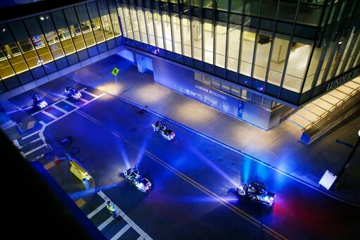 (Jessica Rinaldi/The Boston Globe via AP). A police motorcade for the ambulance carrying David Ortiz arrives at Mass General Hospital in Boston after being flown from the Dominican Republic, Monday night, June 10, 2019. Ortiz is back in Boston for medi...