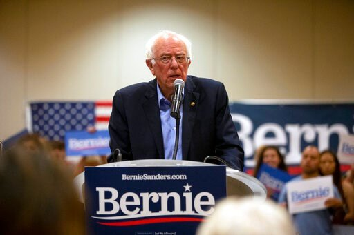 (Eileen Meslar/Telegraph Herald via AP). Democratic presidential candidate Bernie Sanders speaks to audience members during a campaign stop at Grand River Center in Dubuque, Iowa, Sunday, June 9, 2019.