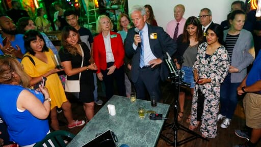 (AP Photo/Steve Helber). Senate Minority Leader Dick Saslaw, D-Fairfax, speaks to supporters at an election party in Springfield, Va., Tuesday, June 11, 2019. Saslaw won the race.