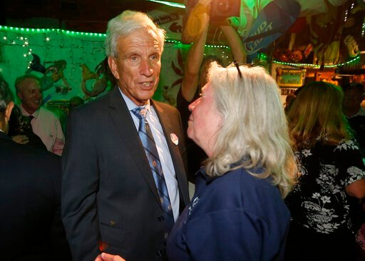 (AP Photo/Steve Helber). Virginia state Sen. Richard Saslaw, D-Fairfax, greets supporters at an election party in Springfield, Va., Tuesday, June 11, 2019.