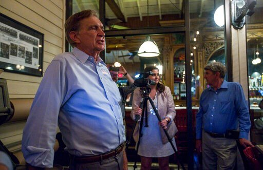 (Daniel Lin/Daily News-Record via AP). Virginia 24th District senator Emmett Hanger, R-Mount Solon, gives a victory speech during a party at The Depot Grille in Staunton, Va., Tuesday, June 11, 2019. Hanger won the primary election against challenger T...