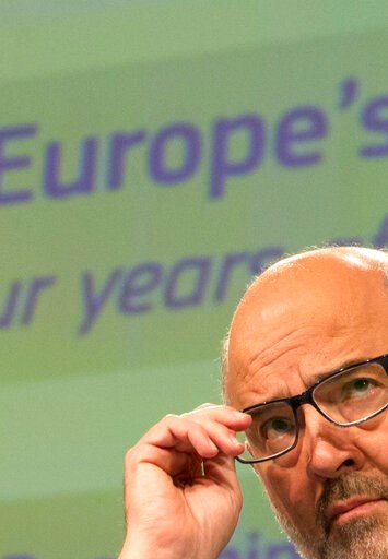 (AP Photo/Virginia Mayo). European Commissioner for Economic and Financial Affairs Pierre Moscovici pauses before speaking during a media conference at EU headquarters in Brussels, Wednesday, June 12, 2019. The European Commission on Wednesday took sto...