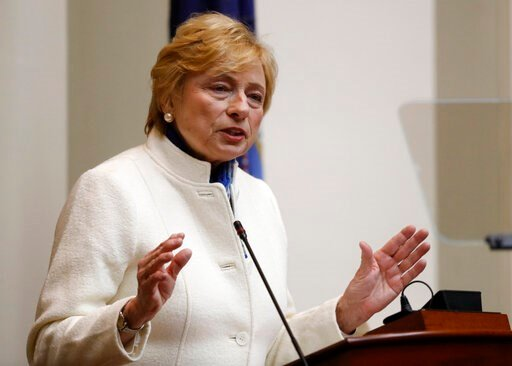 (AP Photo/Robert F. Bukaty, File). FILE - In this Feb. 11, 2019 file photo, Maine Gov. Janet Mills delivers her State of the Budget address to the Legislature at the State House in Augusta, Maine. Maine has become the eighth state to legalize medically...