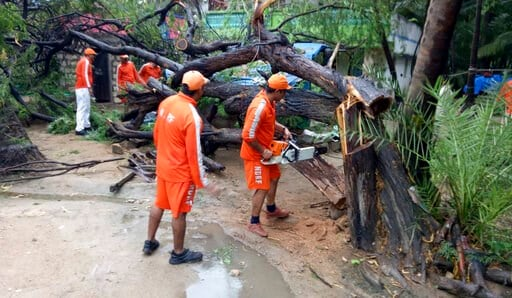(NDRF via AP). In this photo released by the National Disaster Response Force (NDRF), NDRF soldiers cut branches of an uprooted tree that fell in the compound of a house from Cyclone Vayu at Diu, India, Thursday, June 13, 2019. Indian authorities are b...