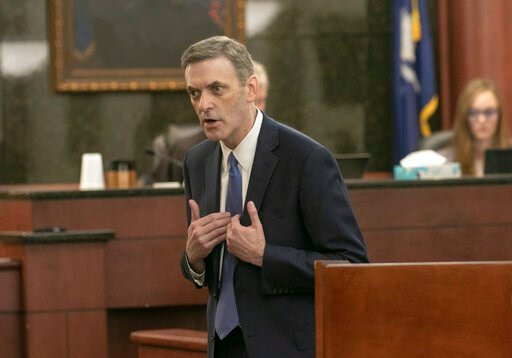 (Tracy Glantz/The State via AP, Pool). Rick Hubbard, 11th Circuit Solicitor,  delivers closing arguments, pushing for the death penalty during the sentencing phase of the trial of Timothy Jones Jr. in Lexington, S.C. on Thursday, June 13, 2019.  Jones,...
