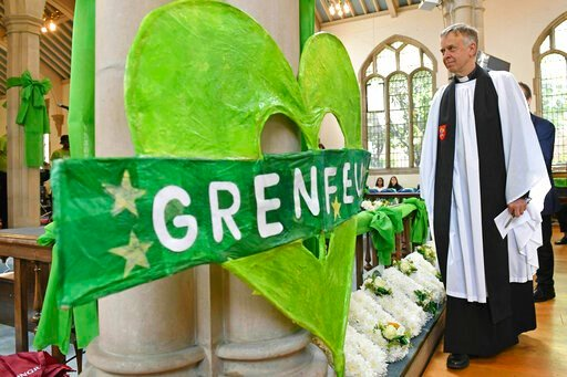 (Dominic Lipinski/PA via AP). A service of remembrance takes place at St Helen's church to mark the two-year anniversary of the Grenfell Tower apartment block fire, near to the site of the fire in London, Friday June 14, 2019.  Two years after the 24-s...
