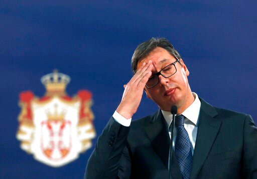 (AP Photo/Darko Vojinovic, file). FILE - In this Sunday, Oct. 29, 2017 file photo, Serbian President Aleksandar Vucic gestures during a news conference in Belgrade, Serbia. Serbia's leader is urging U.S. President Donald Trump to put pressure on Kosovo...