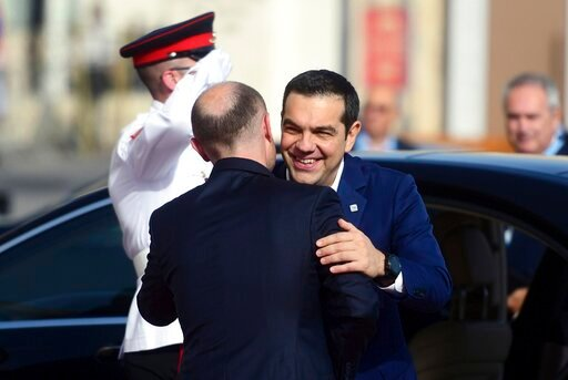 (AP Photo/Jonathan Borg). Greece Prime Minister Alexis Tsipras, right, is welcomed by Malta Prime Minister Joseph Muscat on the occasion of the Mediterranean Summit of Southern EU countries in Valetta, Malta, Friday, June 14, 2019.