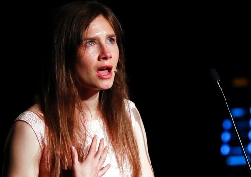 (AP Photo/Antonio Calanni). Amanda Knox gets emotional as she speaks at a Criminal Justice Festival at the University of Modena, Italy, Saturday, June 15, 2019. Knox, a former American exchange student who became the focus of a sensational murder case,...
