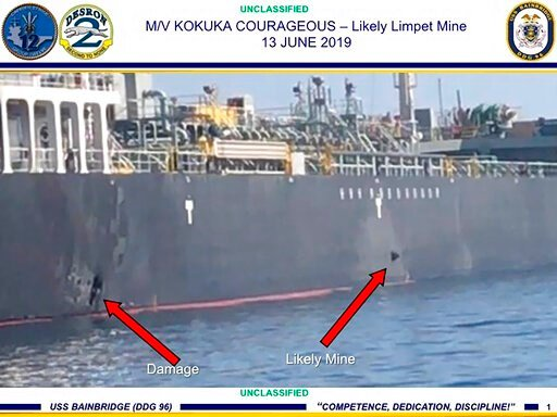 (U.S. Central Command via AP). This June 13, 2019, image released by the U.S. military's Central Command, shows damage and a suspected mine on the Kokuka Courageous in the Gulf of Oman near the coast of Iran. The U.S. military on Friday, June 14, 2019,...