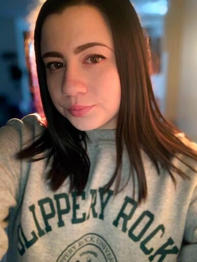 (Alicia Gonzales via AP). In this Feb. 9, 2019 photo provided by Alicia Gonzales, Gonzales poses for a selfie, in Pittsburgh. Gonzales says she was forced to leave her dream college in West Virginia because the school allowed her accused rapist to rema...