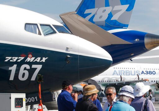 (AP Photo/Michel Euler, File). FILE - In this June 20, 2017, file photo Boeing planes displayed at Paris Air Show, in Le Bourget, east of Paris, France. Uncertainty over a Boeing jet and apprehension about the global economy hover over the aircraft ind...