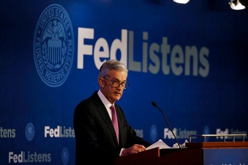 (AP Photo/Kiichiro Sato, File). FILE - In this June 4, 2019, file photo Federal Reserve Chairman Jerome Powell speaks at a conference involving its review of its interest-rate policy strategy and communications in Chicago. On Wednesday, June 19, the Fe...