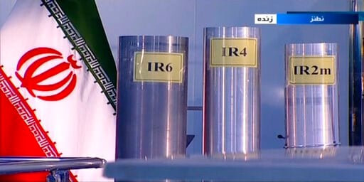 (IRIB via AP, File). FILE - In this June 6, 2018 frame grab from Islamic Republic Iran Broadcasting, IRIB, state-run TV, three versions of domestically-built centrifuges are shown in a live TV program from Natanz, an Iranian uranium enrichment plant, i...