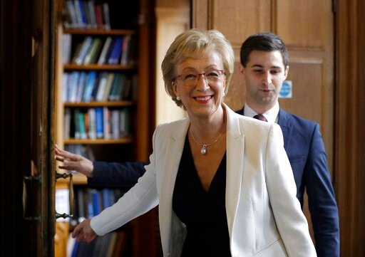 (AP Photo/Kirsty Wigglesworth). Conservative Party leadership contender Andrea Leadsom arrives to launch her campaign, in London, Tuesday June 11, 2019. The Conservatives are holding an election to replace Prime Minister Theresa May, who resigned as pa...