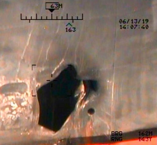 (U.S. Department of Defense via AP). This image released by the U.S. Department of Defense on Monday, June 17, 2019, and taken from a U.S. Navy helicopter, shows what the Navy says is blast damage to the motor vessel M/T Kokuka Courageous, consistent w...