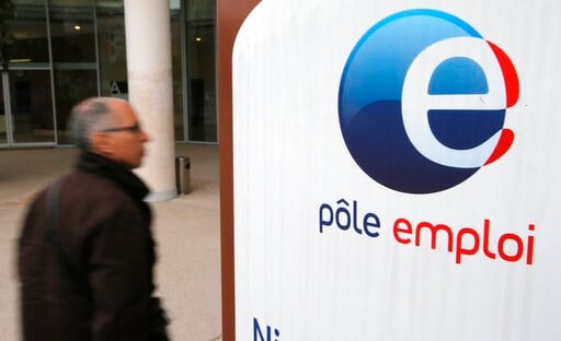 (AP Photo/Lionel Cironneau, File). FILE - In this Feb.26, 2013 photo, a job seeker enters a job center (Pole Emploi), in Nice, southeastern France. French President Emmanuel Macron's government has unveiled its plan to tighten the country's unemploymen...