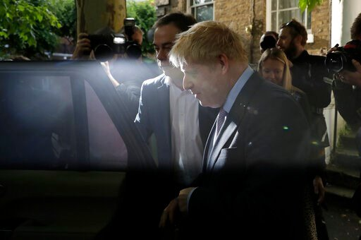 (AP Photo/Matt Dunham). British Conservative party leadership contender Boris Johnson gets in a car as he leaves home in south London, Tuesday, June 18, 2019. Contenders for leadership in Britain's ruling Conservative Party to become the next Prime Min...
