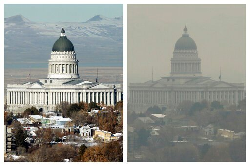 (AP Photo/Rick Bowmer). FILE - This combination of Dec. 13 and 17, 2018 photos shows the Utah State Capitol during clear and an inversion day in Salt Lake City. Inversions hover over Salt Lake City as cold, stagnant air settles in the bowl-shaped mount...
