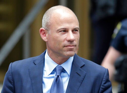 (AP Photo/Seth Wenig, File). FILE - In this May 28, 2019, file photo, California attorney Michael Avenatti leaves a courthouse in New York following a hearing. Avenatti faces a November trial date on charges he tried to extort millions of dollars from ...