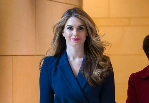 (AP Photo/J. Scott Applewhite, File). FILE - In this Feb. 27, 2018 photo, then-White House Communications Director Hope Hicks arrives to meet behind closed doors with the House Intelligence Committee, at the Capitol in Washington. The House Judiciary C...