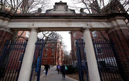 (AP Photo/Charles Krupa, File). FILE - In this Dec. 13, 2018, file photo, a gate opens to the Harvard University campus in Cambridge, Mass. The Ivy League university announced Monday, June 17, 2019, that it would revoke an admission offer to a survivor...