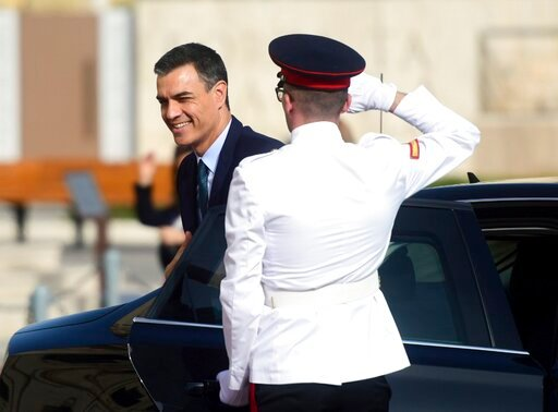 (AP Photo/Jonathan Borg). Spain Prime Minister Pedro Sanchez arrives for the Mediterranean Summit of Southern EU countries in Valetta, Malta, Friday, June 14, 2019.