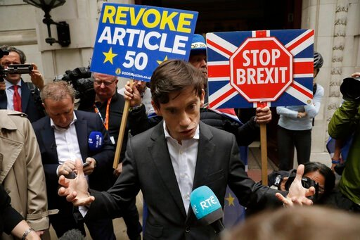 (AP Photo/Matt Dunham). British ruling Conservative party leadership and Prime Minister contender Rory Stewart speaks to the media as he leaves television news network studios in London, Wednesday, June 19, 2019. Britain's Conservative Party are set to...