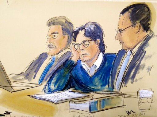 (Elizabeth Williams via AP). In this courtroom artist's sketch, defendant Keith Raniere, center, sits with attorneys Paul DerOhannesian, left, and Marc Agnifilo during closing arguments at Brooklyn federal court, Tuesday, June 18, 2019 in New York. A f...