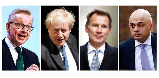 (AP FILE Photo combo). COMBO FILE - In this file four-photo combo image of various recent dates, showing the contenders still placed to become leader of the Conservative Party, Wednesday June 19, 2019, with from left: Michael Gove, Boris Johnson, Jerem...