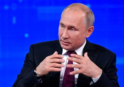 (Alexei Nikolsky, Sputnik, Kremlin Pool Photo via AP). Russian President Vladimir Putin gestures while speaking during his annual call-in show in Moscow, Russia, Thursday, June 20, 2019. Putin hosts call-in shows every year, which typically provide a p...