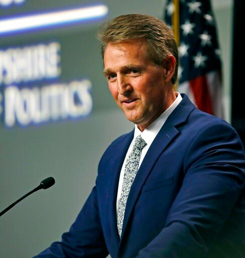 (AP Photo/Charles Krupa, File). FILE - In this Oct. 1, 2018 file photo former U.S. Sen. Jeff Flake, R-Arizona, addresses a gathering in Manchester, N.H., days after a critical vote in support of Supreme Court nominee Brett Kavanaugh. Flake is heading t...
