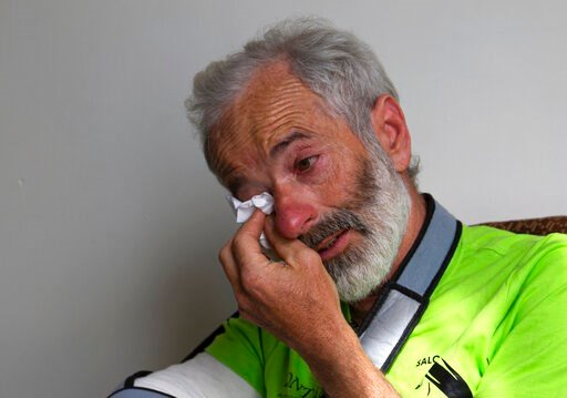 (AP Photo/B.K. Bangash). The team leader, Tarcisio Bellò, 57, breaks in tears while talking about his Pakistani colleague who lost his life during heavy avalanche, in Islamabad, Pakistan, Thursday, June 20, 2019.  The renowned Italian mountaineer, who ...