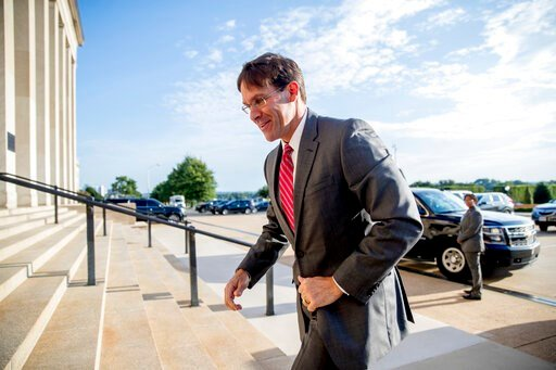 (AP Photo/Andrew Harnik). In this June 24, 2019, photo, acting Defense Secretary Mark Esper arrives at the Pentagon in Washington. Esper is heading to Europe to try to convince wary NATO allies to work with the Trump administration on Iran sanctions an...