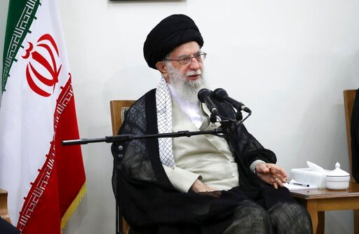 (Office of the Iranian Supreme Leader via AP). In this picture released on Wednesday, June 19, 2019, by the official website of the office of the Iranian supreme leader, Supreme Leader Ayatollah Ali Khamenei speaks in a meeting at his residence in Tehr...