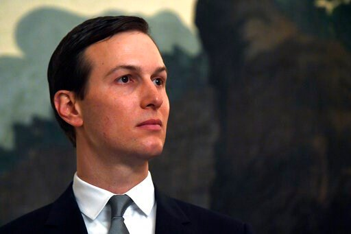 (AP Photo/Susan Walsh, File). FILE - In this March 25, 2019, file photo White House adviser Jared Kushner listens during a proclamation signing with President Donald Trump and Israeli Prime Minister Benjamin Netanyahu in the Diplomatic Reception Room a...