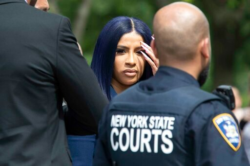 (AP Photo/Mary Altaffer). Rapper Cardi B leaves Queens County Criminal Court, Tuesday, June 25, 2019, in New York.