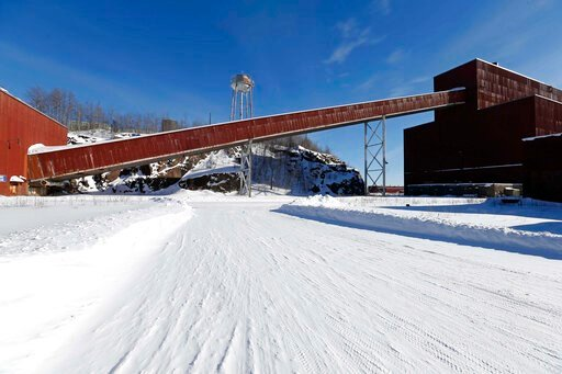 (AP Photo/Jim Mone, File). FILE - This Feb. 10, 2016, file photo, shows a former iron ore processing plant near Hoyt Lakes, Minn., that would become part of a proposed PolyMet copper-nickel mine. Environmental Protection Agency documents show that its ...