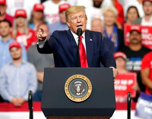 (AP Photo/John Raoux). President Donald Trump speaks to supporters as he formally announced his 2020 re-election bid Tuesday, June 18, 2019, in Orlando, Fla.
