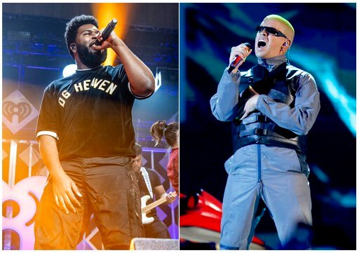 (AP Photo). This combination photo shows Khalid performing at Y100's Jingle Ball in Sunrise, Fla. on Dec. 16, 2018, left, and Bad Bunny performing at the Billboard Latin Music Awards in Las Vegas on April 25, 2019. Apple Music announced Monday, July 1,...