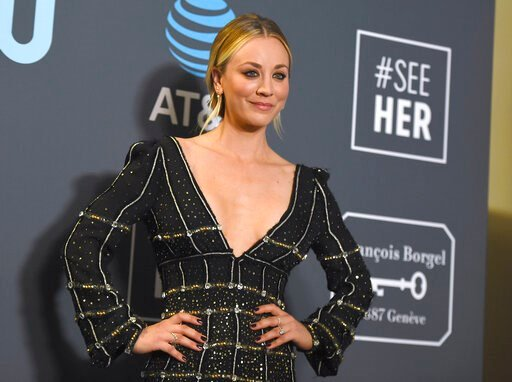 (Photo by Jordan Strauss/Invision/AP, File). FILE - In this Jan. 13, 2019, file photo, Kaley Cuoco poses in the press room at the 24th annual Critics' Choice Awards at the Barker Hangar in Santa Monica, Calif. Cuoco is making a big move after wrapping ...